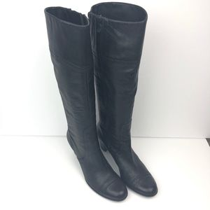Talbots Knee High Black Leather Boots Size 8 AA